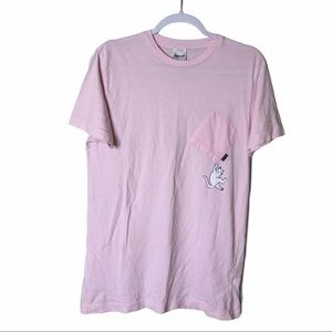 RipNDip Pink Cat Shirt WIth Upside Down Pocket